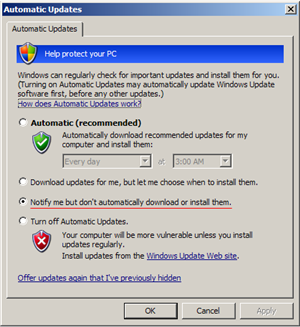 Windows XP Automatic Updates Notification